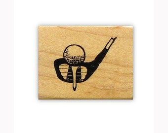 GOLF CLUB and BALL mounted rubber stamp, golfing, summer sports, Father's Day, Sweet Grass Stamps No.14