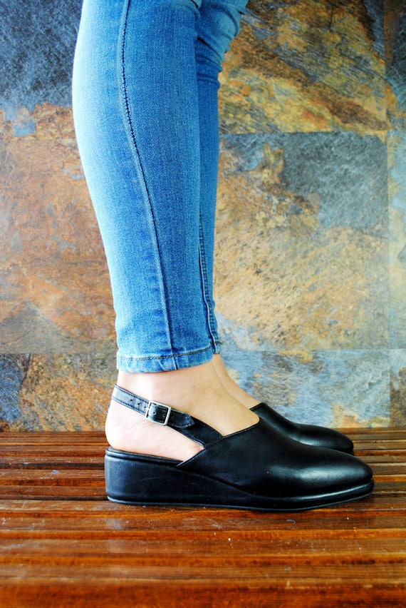 toe Black Pointy All Toe Straped Wedges leather sizes Closed PIPER AYIXOxqfn