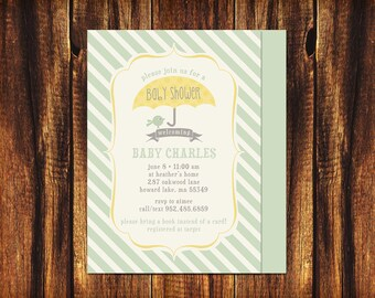 Baby Shower Printable Invitation Double Sided 5x7 Sweet Birdie Mint Stripes Umbrella