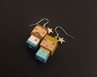 """Boucles d'oreilles figurines cubiques """"lovers"""""""
