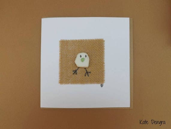 Ceramic Chick Greetings Card Unique OOAK Pebble Art Beach Finds Beachcombing Ocean Inspired Sea Glass Pottery Driftwood