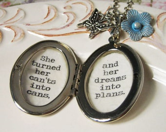 locket she turned her cants into cans  her dreams into plans inspirational jewelry with quote necklace for women gift for her bff sister