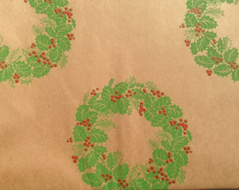 Vintage Christmas Gift Wrapping Paper - Christmas Wreath Mailing Paper Made by Hallmark - 1 Unused Full Sheet Gift Wrap