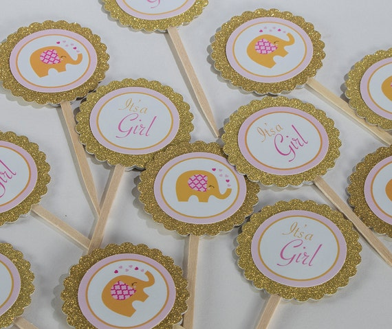 Elephant Theme Baby Shower Dozen Cupcake Toppers