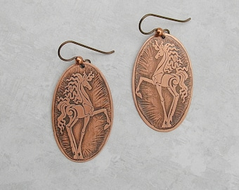 Horse Dangle Earrings Equestrian Jewelry Copper Earrings Copper Jewelry Horse Jewelry Etched Copper Jewelry
