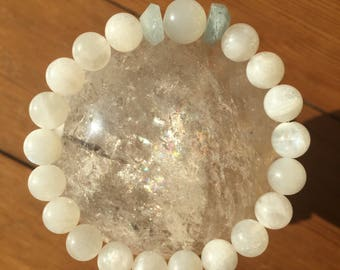 Mystic Moonstone  rainbow moonstone and aquamarine bracelet