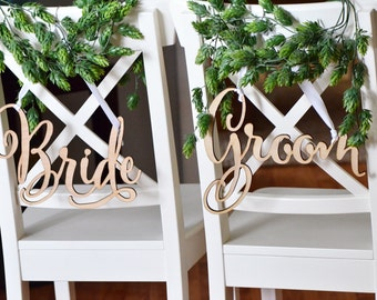 Bride and Groom chair signs- wooden chair signs -wedding decor