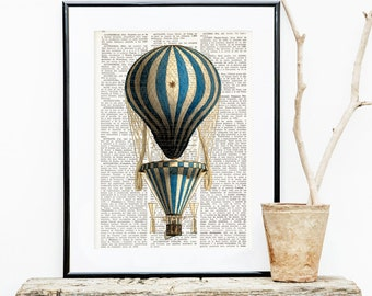 HOT AIR BALLOON Dictionary Print, Antique Balloon print, wall art, Montgolfier, Air Balloon Dictionary Art Print, Balloon Decoration #153-06