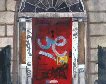 Watercolor Dublin Georgian Door Print 8 x 10, Red Door Painting, architectural art, graffiti art