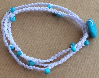 Tripple Bracelet-Anklet-Necklace white-cyan