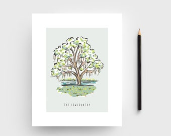 The Lowcountry of SC Artwork; Art print of the Oak Tree in the Lowcountry