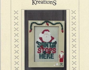 """Clearance - """"Santa Stops"""" Counted Cross Stitch Chart by Poppy Kreations"""