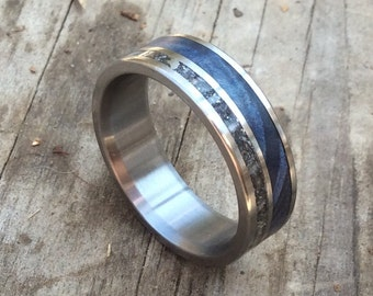 Titanium Ring, Meteorite Ring, Wood Ring, Blue Wood Ring, Mens Ring, Womens Ring, Wedding Band, Handmade Ring, Engraved Ring, Personalized