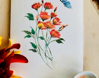 Orange bouquet with blue butterfly, floral notecard