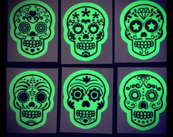 Glow in the Dark Sugar Skulls / Dia de los Muertos / Day of the Dead Stickers (Set of 6)