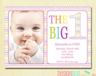 First birthday baby boy invitation diy photo printable rainbow first birthday invitation baby girl diy photo printable custom invite rainbow polka dots stopboris Gallery