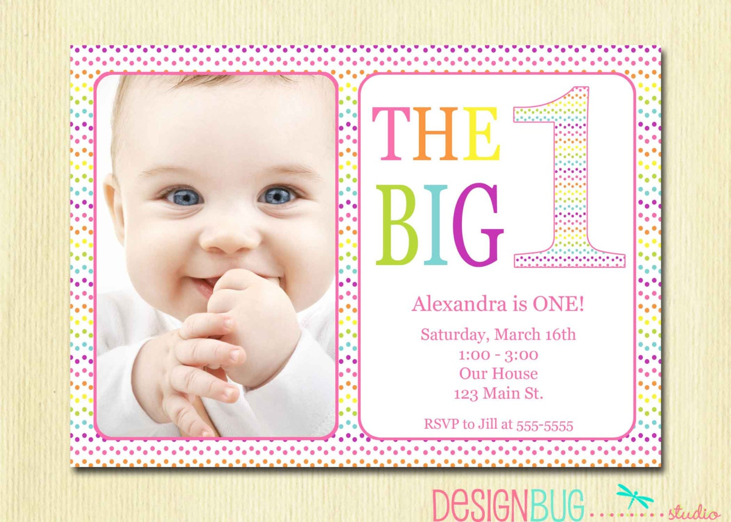 Rainbow First Birthday Invitation Baby Girl DIY Photo