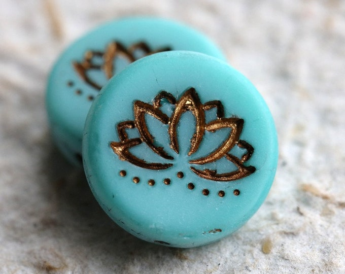 MATTE TURQUOISE LOTUS No.1 .. 2 Picasso Czech Glass Lotus Coin Beads 19mm (6252-2)