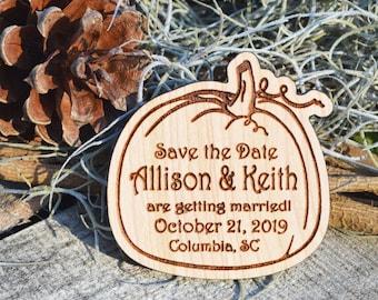 Pumpkin Design Hardwood Save the Date Magnets, Custom Engraved Invitations
