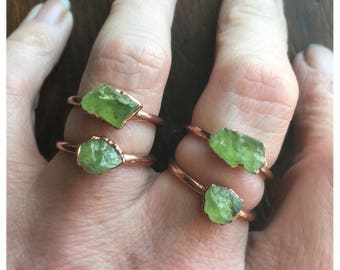 Raw Peridot Ring | August Birthstone |  Electroformed Jewelry | Raw Peridot Ring | Crystal Ring | Made to Order Ring | Green Ring