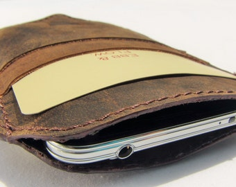 Handmade Real Leather Smart Phone Pouch iPhone/Samsung/HTC/Sony/LG/Nokia/Blackberry