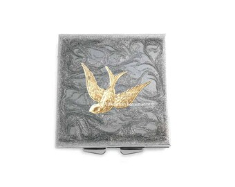 Art Nouveau Bird Metal Pill Box Inlaid in Hand Painted Enamel Silver Swirl Design Square Medicine Case with Personalized Options