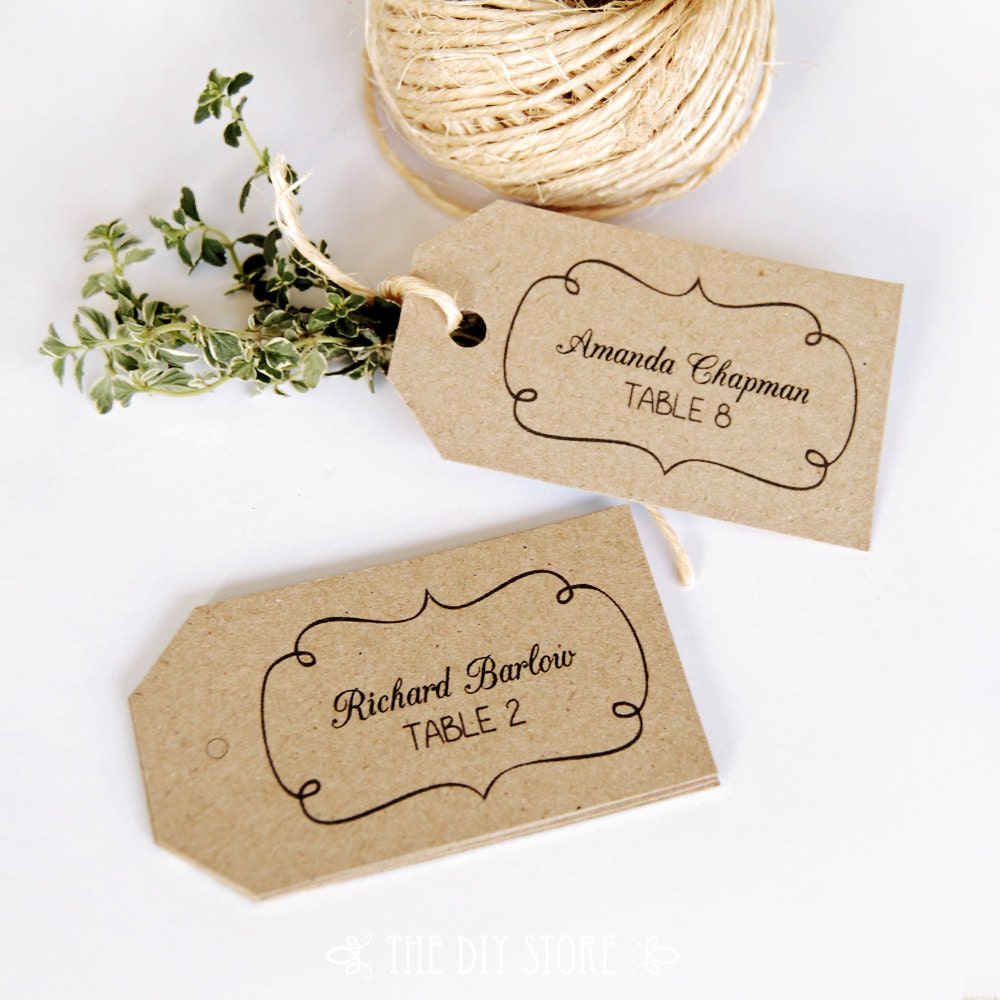 Escort Card Tag Printable Text Editable MEDIUM Tag Size - Wedding name tag template