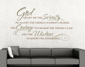 Wall Decal Serenity Prayer Positive Vibes Mental Health Tips Anti Anxiety Aids Self-Care Gifts Addiction Recovery Gift Wall Decor Wall Art