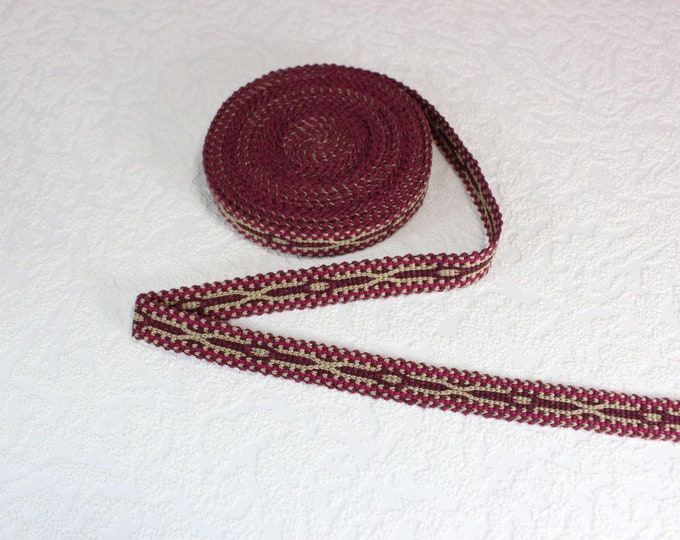 Woven Trim (6 yards), Woven Border, Cotton Ribbon, Grosgrain Ribbon, Dress Border, Border Trim, R180