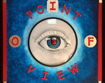 Point Of View - Recycled Mixed Media Assemblage on Wood