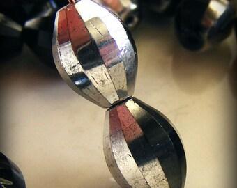 Czech Glass Global Melon Beads 12x9mm Silver Half Coat (10 pk) SRB-12x9G-SHC
