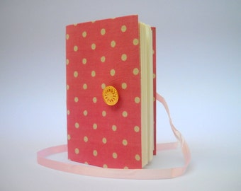 Handmade Pink writing journal notebook Lined journal diary for girls Dotted journal Gold button and Pink ribbon, Girly diary for writing