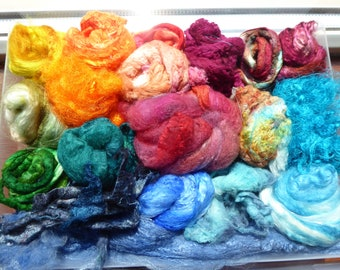 Luxury hand dyed silk selection a great mix of colour and textures - LMSP14