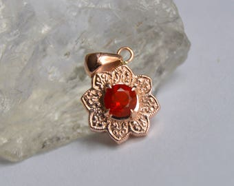 Gold Pendant, Mexican Fire Opal Pendant Rose Gold Pendant, Rose Gold Necklace, Sunflower Necklace, Gifts for Mom