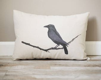 Raven Pillow | Personalized Pillow | Fall Decor | Monogrammed Gift | Rustic Home Decor | Home Decor | Farmhouse Decor | Fall Pillow | Raven