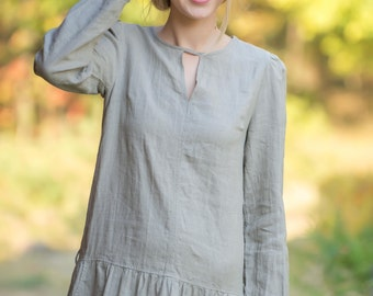 Linen Maxi Dress/ Linen Natural Longsleeve dress/ Long Dress With Dropped Waist/ Linen Casual Dress