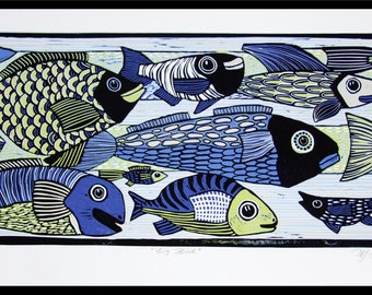 Linocut, fish, art print, printmaking, fishing, ocean, gift for him, blue, lime green, tropical fish, colorful print, water, fish print