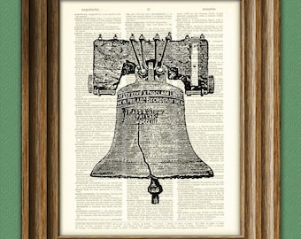 Liberty Bell beautifully upcycled dictionary page book art print