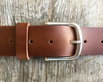 Light brown leather work belt, Genuine leather, Full grain leather belt, Silver buckle, Nickel belt buckle, Men's leather belt, Tan leather