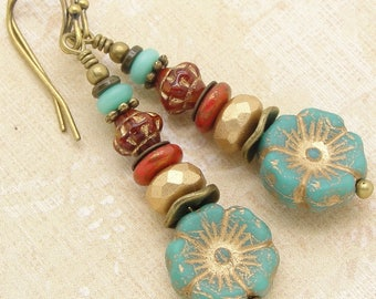 Boho Blue Red Earrings in a Zen Stacked Style with Czech Glass Flower and Disc Beads