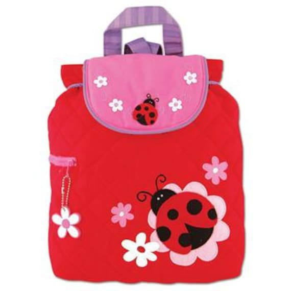 Personalized Stephen Joseph Toddler Quilted Ladybug Backpack, Kids Backpack, Children's Backpack, Preschool Backpack.