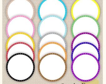 ON SALE Digital frame, circle frames clipart, white background frame, digital scrapbooking frames.A-21 , Instant Download