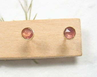 3mm rose cut Tourmaline , solid 9k yellow gold studs earrings, Mother day earrings