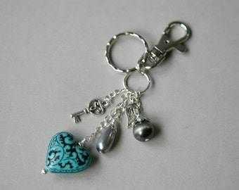 Large Antiqued Silver Dangling Puffed Heart Beaded Key Ring with Purse Hook, Blue Key Ring, Heart Key Chain, Purse Charms, Silver Key Ring