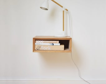 Mid Century Floating Oak Scandinavian Style Bedside Table | Vintage Floating Nightstand | Retro Bedroom Furniture | Eames Style