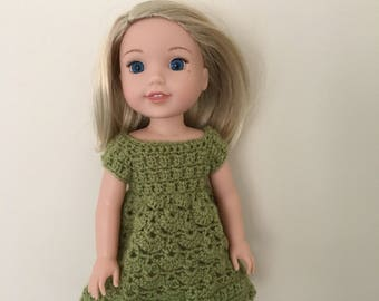 """Green dress for 14.5"""" doll such as American Girl Wellie Wishers. Handmade, crocheted."""