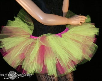 Adult tutu skirt Mini micro Peek a boo style dance roller derby costume Neon yellow hot pink runner - You Choose Size - Sisters of the Moon
