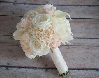 Blush Pink and Ivory Rose Hydrangea and Mum Wedding Bouquet
