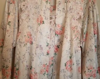 Natori I. Magnin vintage peignoir robe and nightgown set with roses, lavender and lace