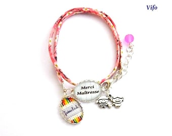 Gift teacher Bracelet liberty cabochons * thank you teacher *-* I love school * pink, white, adjustable